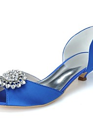 Women's Spring Summer Fall Winter Satin Wedding Party & Evening Kitten Heel Rhinestone Black Blue Pink Ivory White Silver