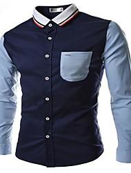 slim-encaixe camisa da cor blcoking homens manlodi