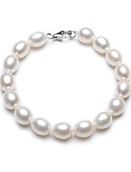 BRI.R® Fashion Women's S925 Silver Clasp 8-9mm Natural Rice-shape Pearl Bracelet