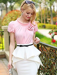 Pink Doll® Women's Lovely Round Collar Puff T Shirt