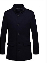 Men's Stand Shoulder Pad Trench Coat