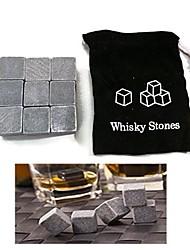 set di pietra di ghiaccio del whisky 9 cubo di pietra vino ghiacciato con il sacchetto, 10 * 10 * 2cm
