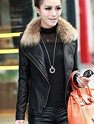 Women's Real Fur Synthetic Leather Jacket Short Coat
