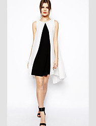 fashion sleeveless contrast color dress