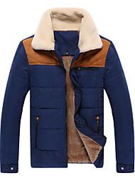 Senleisi Men's Fashion Fleece Cotton Coat 8833(Navy Blue,Red)
