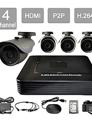 YanSe® 4 Channel HDMI CCTV DVR Waterproof Vision Security Camera System Kit F278CF04G