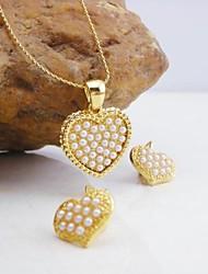 Plaqué or 18 carats turquoise / bijoux en perle de cœur ensemble