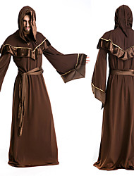 Aloof Wizard Brown Long Gown Men's Halloween Costumefor Carnival