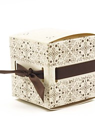 Cube White Card Paper Favor Box with Satin-Set of 12