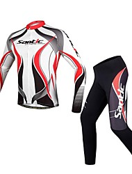 SANTIC Cycling Jersey with Tights Men's Long Sleeve Bike Breathable Reflective StripsJersey Tights Jersey + Pants/Jersey+Tights Clothing