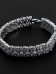 Silver Platinum Plating with Abreast Cubic Zirconia Bracelets