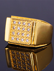 Men's Luxury Band Ring 18K Chunky Gold Plated  AAA+ CZ Stone Zirconia Cool Jewelry for Men High Quality