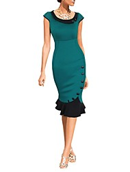Women's Vintage Round Collar Patchwork Ruffle Side Button Midi Pencil Dress