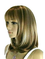 Women's Exquisite Medium Length Straight Brown with Blonde Wig with Full Bang
