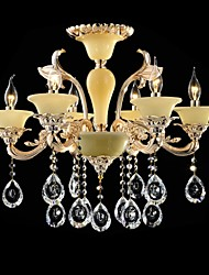 Modern Crystal Chandelier Six Lights Zinc Alloy Jade-like Resin and Crystal 220~240V