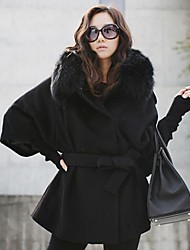 TS Women's Fashion Hooded Thick Wool Coat With Faux Fur Collar
