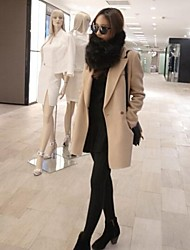 Women's Lapel Collar Covered Button Beige Coat