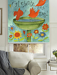 Classic Lovely Cartoon Style Birds Celebrating The Day Roller Shade