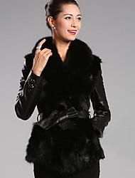 XT Women's Long Sleeve Slim Temperament Elegance Fur Overcoats