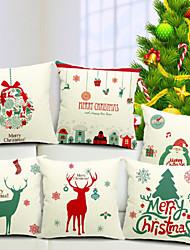 веселый набор рождество из 6 хлопок / белья декоративной подушки крышки