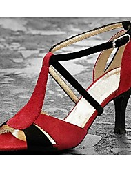 Non Customizable Women's Dance Shoes Latin Satin Stiletto Heel Red