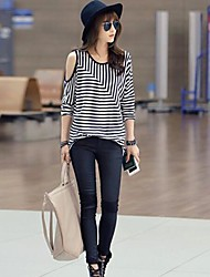 Women's Striped T-shirt , Round Neck Long Sleeve Hollow Out