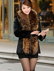 XT Women's Long Sleeve Slim Temperament Elegance Fur Overcoats