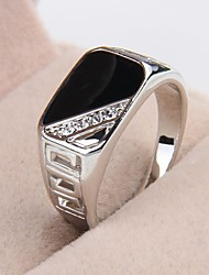 Fashion Contracted Alloy Platinum Plated Black Oil Rhinestone Men's Statement Ring Jewelry Christmas Gifts