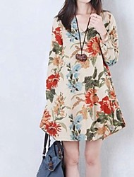 vestido de cuello redondo de las mujeres, de algodón de manga larga encima de la rodilla