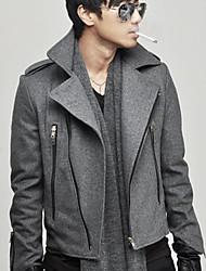 lapela zip jaqueta de tweed almofada de ombro para homens