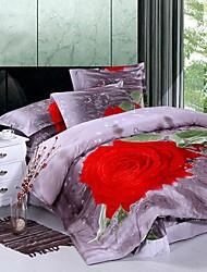 Duvet Cover Set,4 Piece Suit Comfort Cotton Simple Modern Reactive Print Rose Full