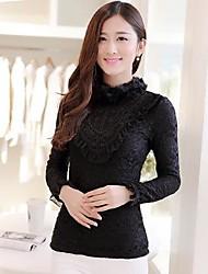 simplicité de la mode haut col t-shirt en dentelle de sim de ts les femmes