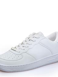 Scarpe Donna - Sneakers alla moda - Tempo libero - Punta arrotondata - Piatto - Finta pelle - Bianco