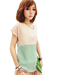 Women's Casual/Daily Simple / Street chic Summer T-shirt,Color Block Long Sleeve Pink / Green Thin