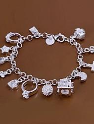 Herz / Schlüssel / Ring Splitter 925 Armband (1pc)