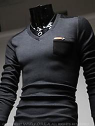 Men's Korean Style V Neck Contrast Color T Shirts