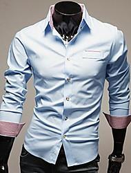 Men's Solid Work / Formal Shirt,Cotton Blend Long Sleeve Black / Blue / Red