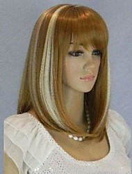 Women's New Fashionable and Charming Mix Color Medium Length Wig with Full Bang