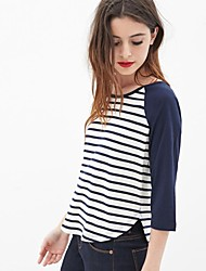 Frauen blau-weiß gestreiften o-Hals drei Viertel Ärmel Kurze T-Shirts