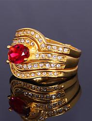 topgold toda a partida luxo anel de diamante de três camadas