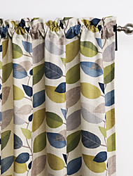 Philips Young - (Two Panels) Contemporary Minimalist Multi Color Leaves Curtain
