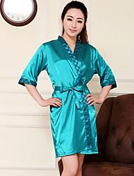 Elegante Damenmode Pure Color Silk Robe (weitere Farben)