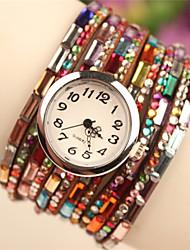 Мак женская старинные красочный браслет шарика часы