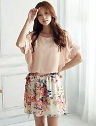 vestido de manga murciélago floral gasa coreana de las mujeres