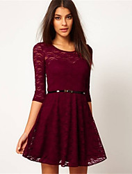 Women's Sexy/Party Round ¾ Sleeve Dresses (Lace)