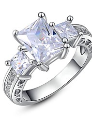 Sexy 18K White Gold Plated Multi Clear Squre Austria Crystal Cocktail Roma Charm Ring