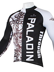 PaladinSport Men's  Summer and Autumn Style 100% Polyester Chain Skull Black Long Sleeved Cycling Jersey