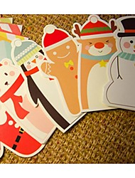 Christmas Cartoon Card Envelope Suit Set Of 6 (Random Design)