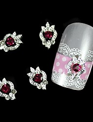 10pcs Dark Red Rhinestone Silver DIY Alloy Nail Art Decoration