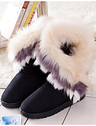 Zikafu New Cotton Fox Fur Mid Snow Boots Black